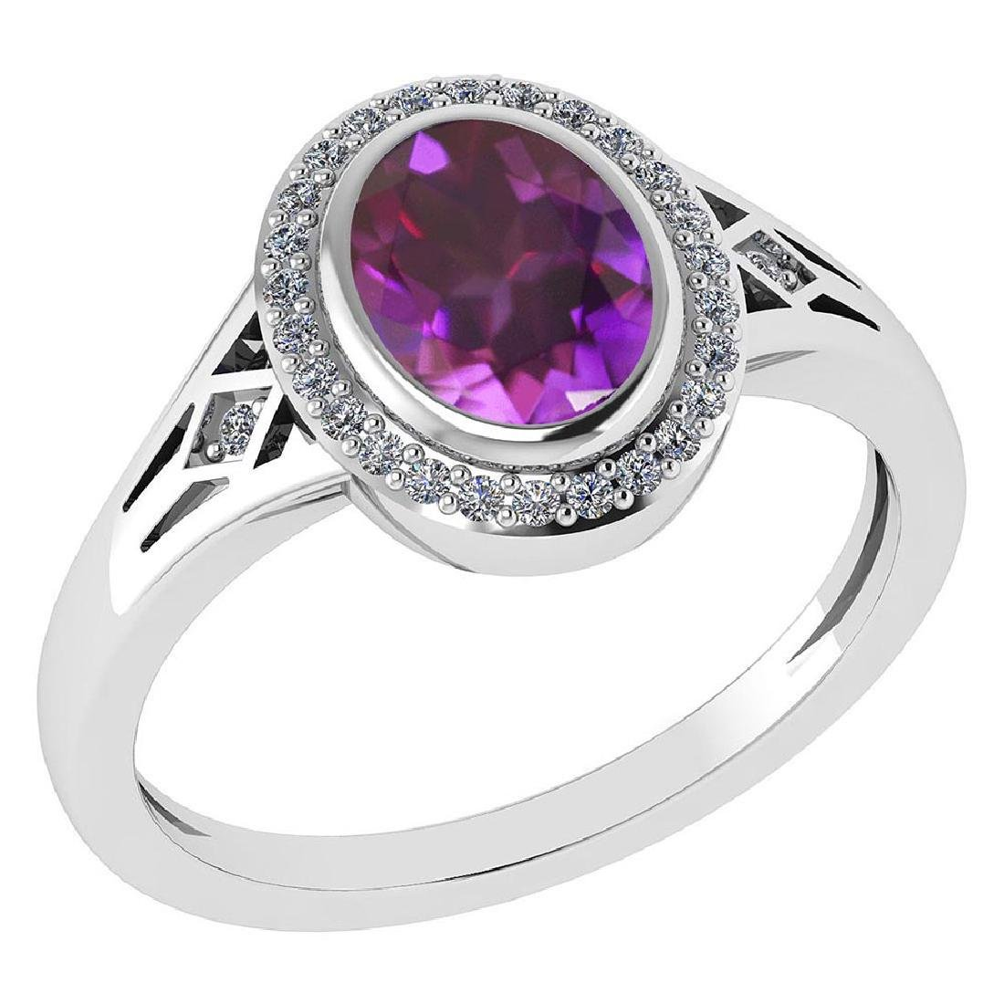 Certified 1.39 Ctw Amethyst And Diamond 14k White Gold