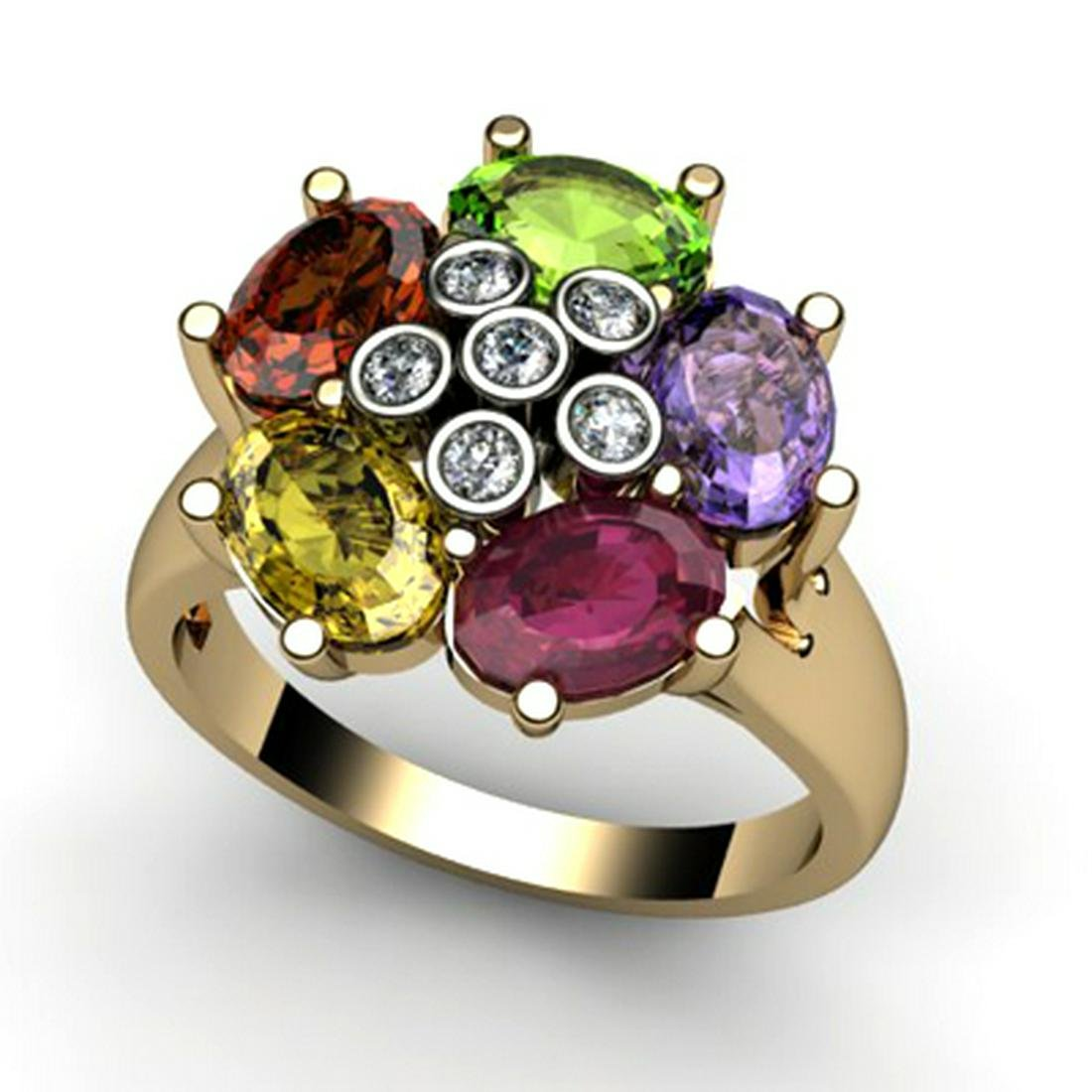 Genuine  2.73 ctw 10k Multi-Color Gemstone Diamond Ring
