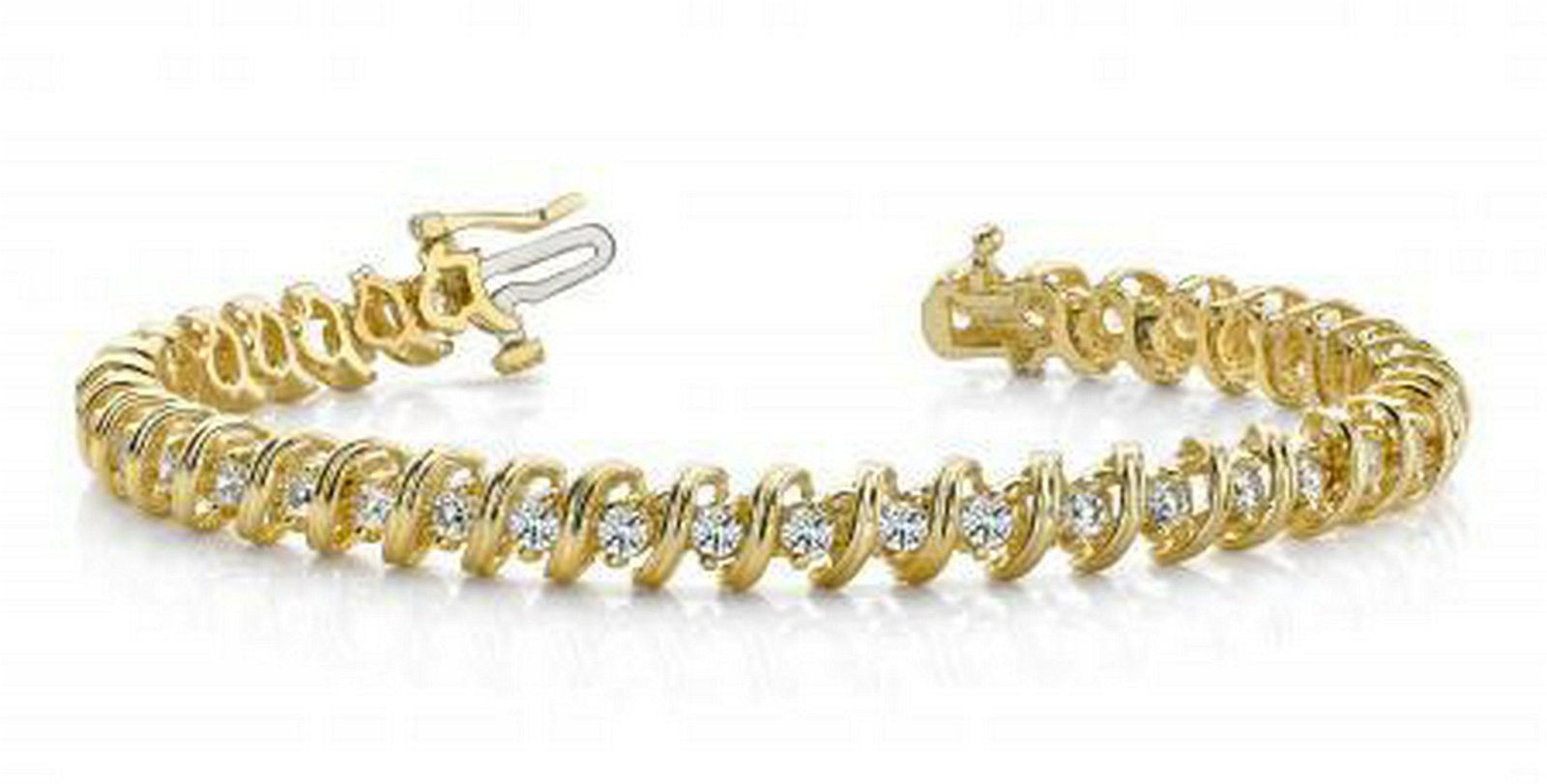 14KT YELLOW GOLD 1 CTW G-H SI2/SI3 FACETED SPIRAL LINK