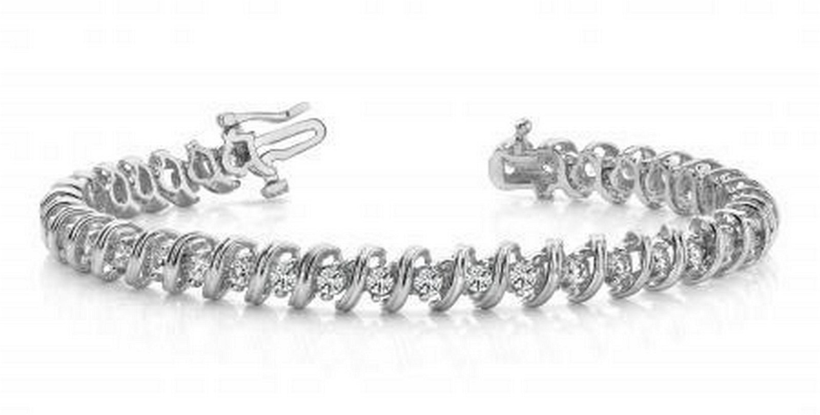 14KT WHITE GOLD 1 CTW G-H SI2/SI3 FACETED SPIRAL LINK D