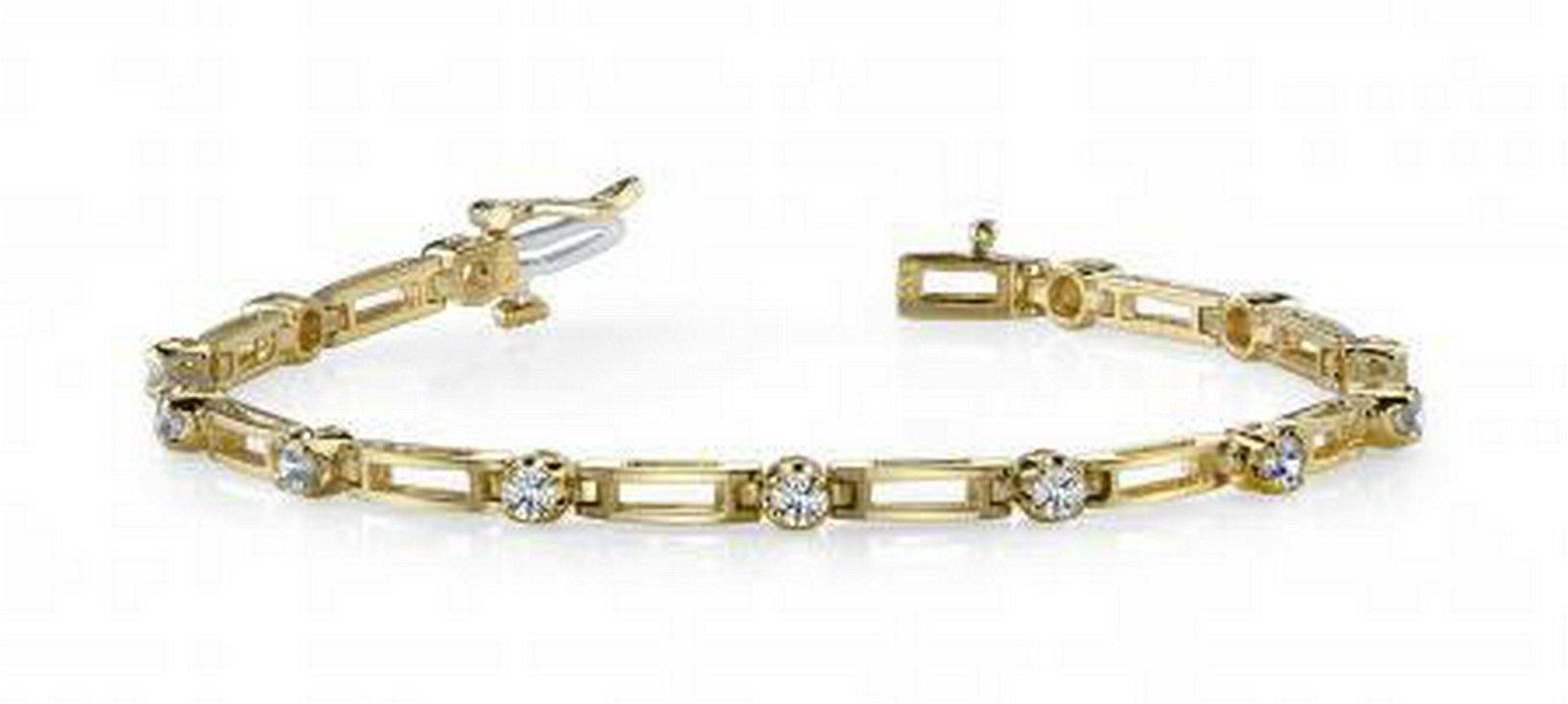 14KT YELLOW GOLD .50 CTW G-H SI2/SI3 DIAMOND BOX LINK B
