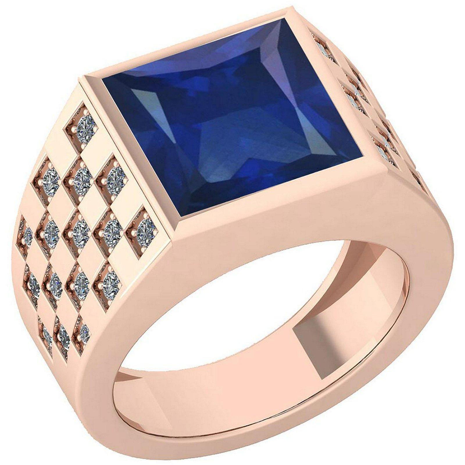 Certified 6.02 Ctw Blue Sapphire And Diamond VS/SI1 14K