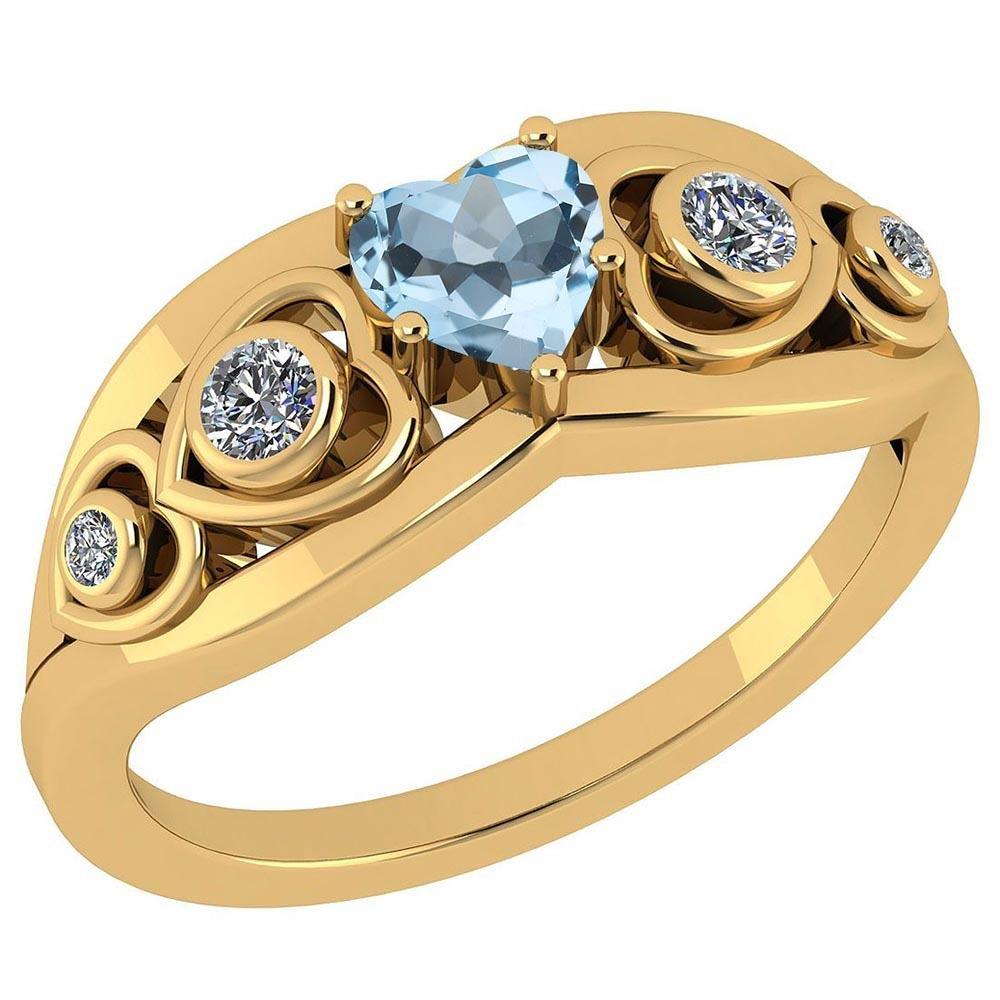 Certified 0.66 Ctw Blue Topaz And Diamond VS/SI1 14K Ye