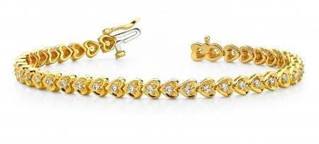 14K YELLOW GOLD 1 CTW G-H I1/I2 HEART LINK DIAMOND BRAC