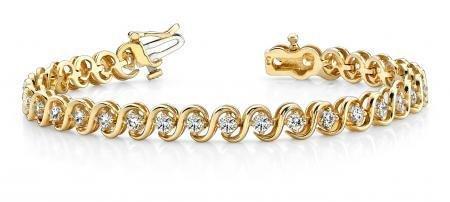14K YELLOW GOLD 1 CTW G-H I1/I2 S LINK DIAMOND BRACELET