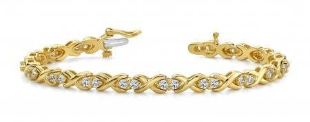 14K YELLOW GOLD 1.50 CTW G-H I1/I2 X LINK DIAMOND BRACE