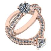 Certified 194 Ctw Diamond I1I2 Engagement 10K Rose Go