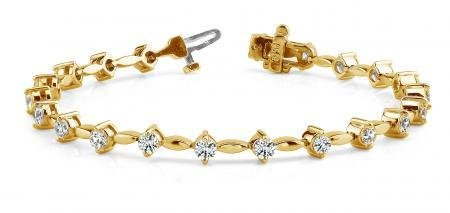 14K YELLOW GOLD 1 CTW G-H I1/I2 CLASSIC DIAMOND LINK BR
