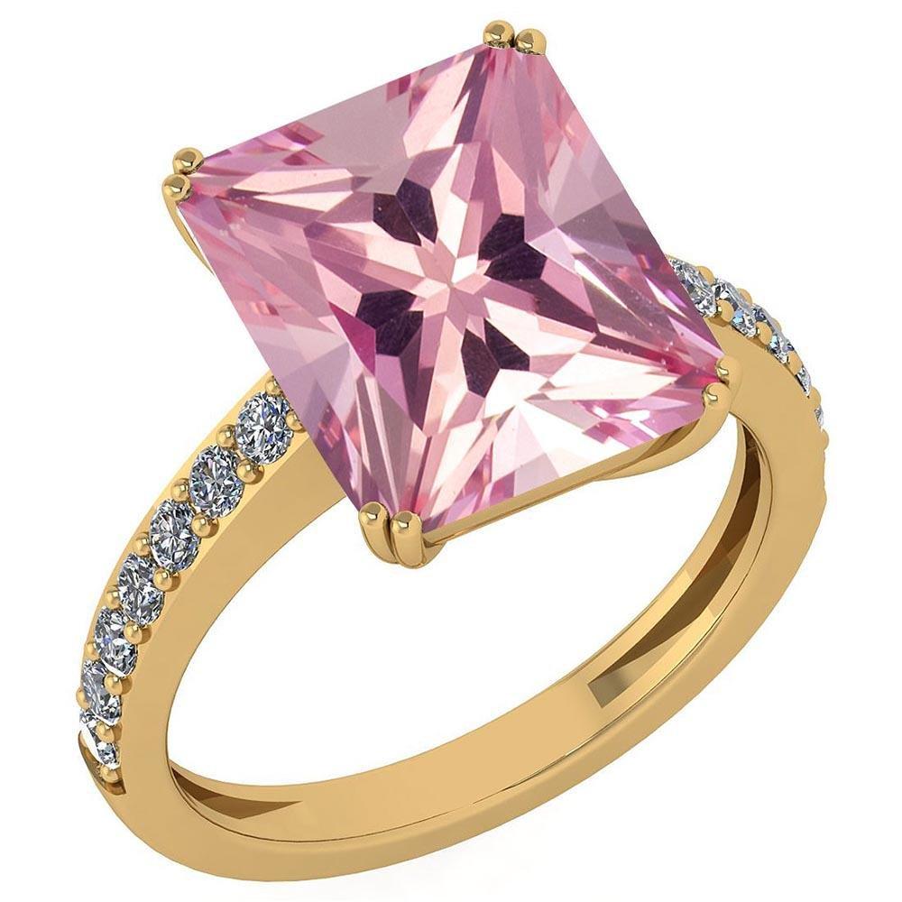 Certified 1.16 Ctw Pink Tourmaline And Diamond VS/SI1 1