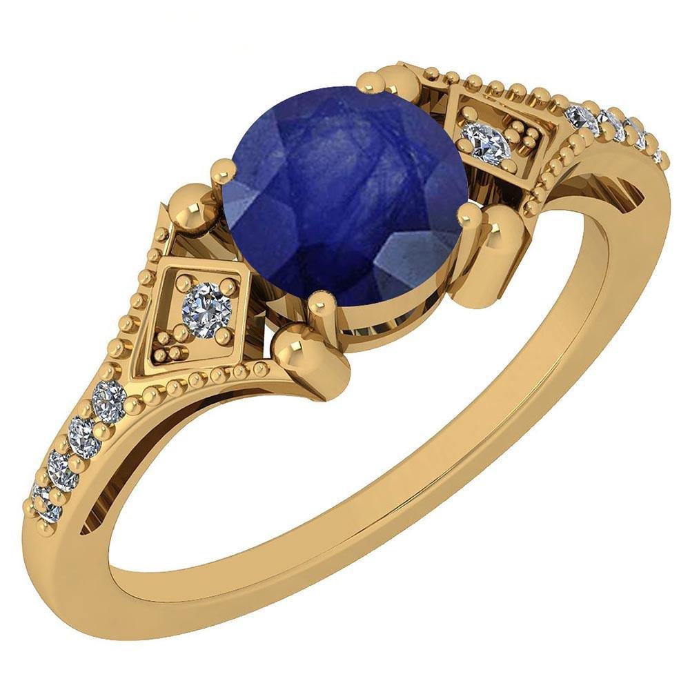 Certified 1.09 Ctw Blue Sapphire And Diamond VS/SI1 14K