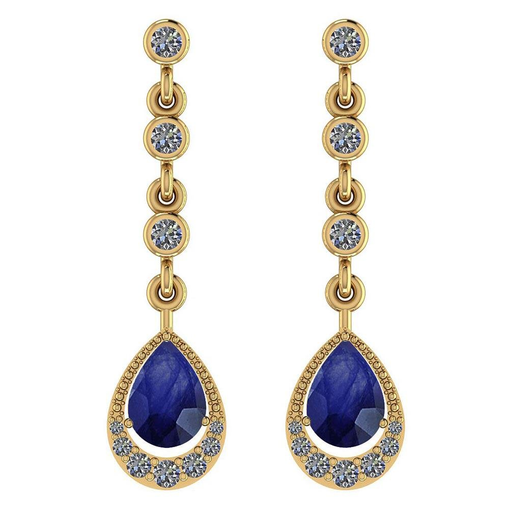Certified 2.30 Ctw Blue Sapphire And Diamond VS/SI1 18K
