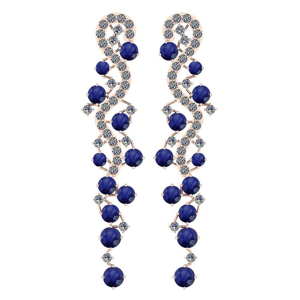 Certified 7.02 Ctw Blue Sapphire And Diamond VS/SI1 14K