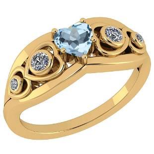 Certified 066 Ctw Blue Topaz And Diamond VSSI1 14K Ye
