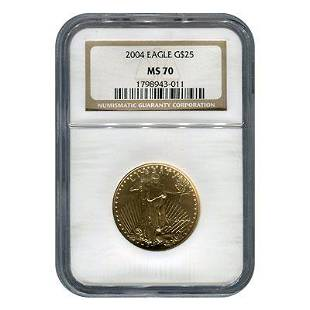 Certified American 25 Gold Eagle 2004 MS70 NGC