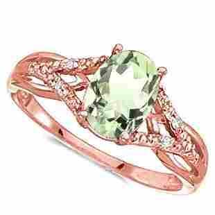 078 CARAT GREEN AMETHYST 004 CTW DIAMOND 14KT SOLID