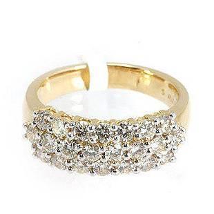 Genuine 1450 ctw Pave Anniversary Diamond Ring 18kt