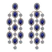 Certified 25.86 Ctw Blue Sapphire And Diamond VS/SI1 18