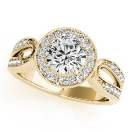 CERTIFIED 18K YELLOW GOLD .72 CT G-H/VS-SI1 DIAMOND HAL