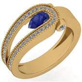 Certified 0.79 Ctw Blue Sapphire And Diamond VS/SI1 10K