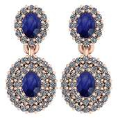 Certified 1.36 Ctw Blue Sapphire And Diamond VS/SI1 10K