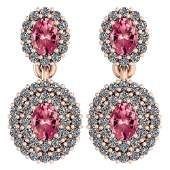 Certified 136 Ctw Pink Tourmaline And Diamond VSSI1 1