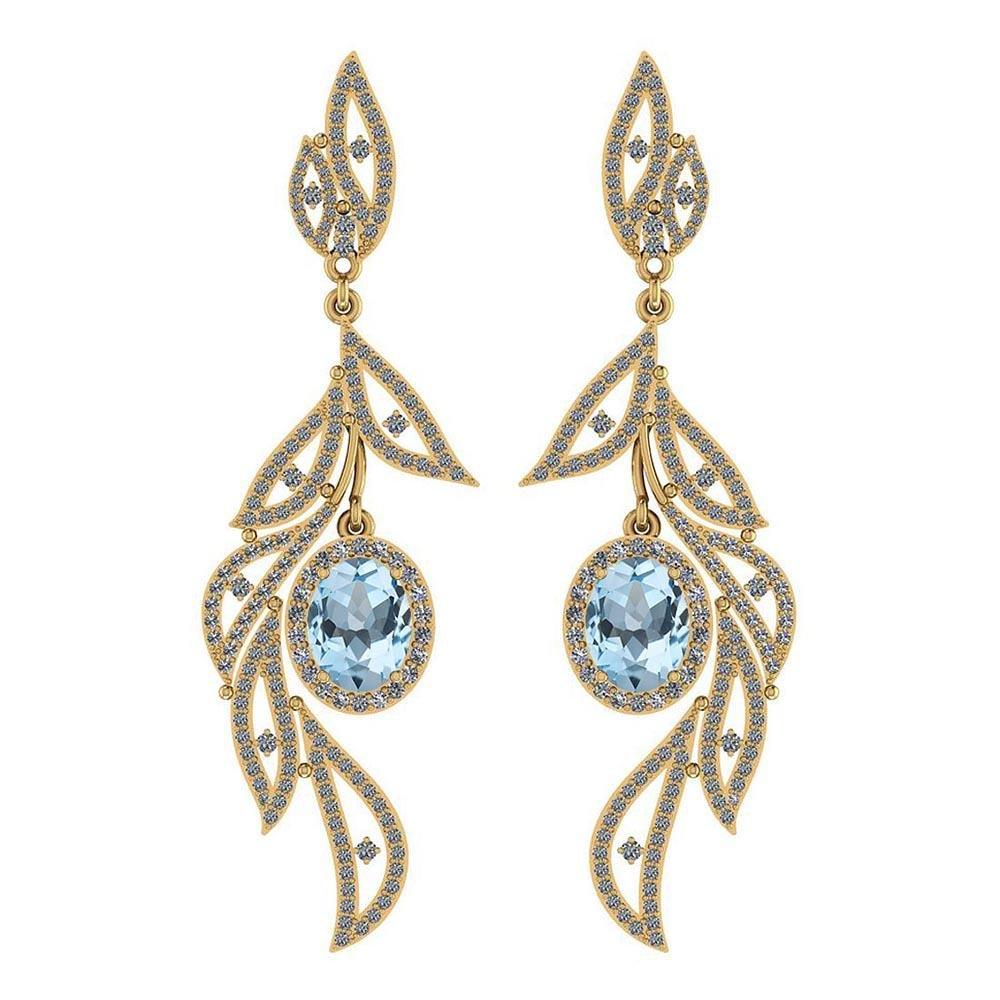 Certified 5.92 Ctw Blue Topaz And Diamond VS/SI1 14K Ye