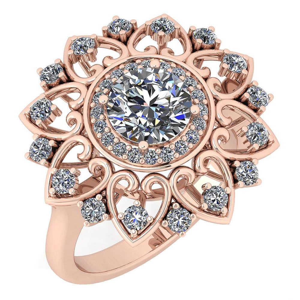 Certified 1.89 Ctw Diamond VS/SI1 14K Rose Gold Ring