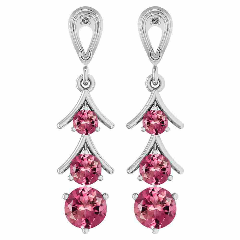 Certified 1.62 Ctw Pink Tourmaline And Diamond VS/SI1 1
