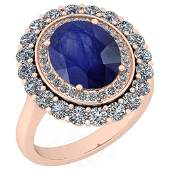 Certified 5.45 Ctw Blue Sapphire And Diamond VS/SI1 10K