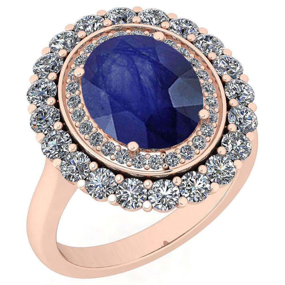 Certified 5.45 Ctw Blue Sapphire And Diamond VS/SI1 10K