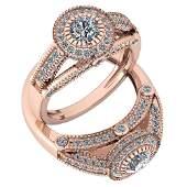 Certified 124 Ctw Diamond I1I2 Engagement 10K Rose Go
