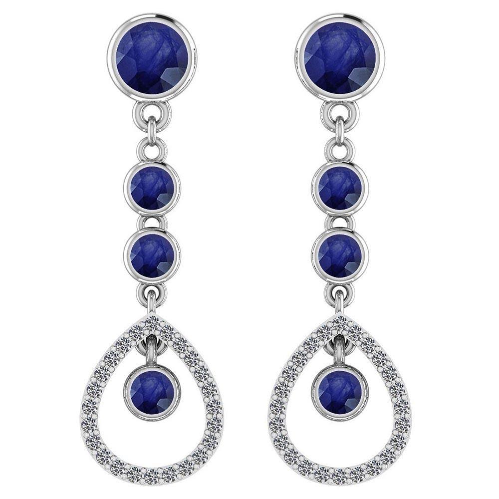 Certified 1.78 Ctw Blue Sapphire And Diamond VS/SI1 18K