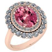 Certified 545 Ctw Pink Tourmaline And Diamond VSSI1 1