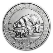 2015 Canadian Silver $8 Polar Bear 1.5 Ounces
