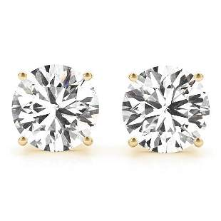CERTIFIED 0.91 CTW ROUND D/SI1 DIAMOND SOLITAIRE EARRIN