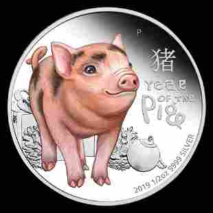 2019 Tuvalu 1/2 oz Silver Lunar Baby Pig Proof Colorize