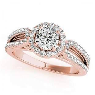 CERTIFIED 18K ROSE GOLD .85 CT G-H/VS-SI1 DIAMOND HALO