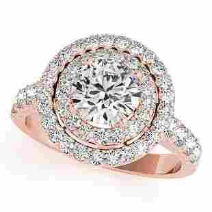 CERTIFIED 18K ROSE GOLD 2.32 CT G-H/VS-SI1 DIAMOND HALO