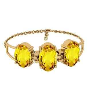 Certified 67.55Ctw Lemon Topaz 10K Gold Victorian Style