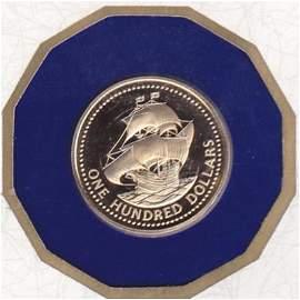 Barbados 1975 $100 Gold Proof Ship