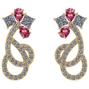 Certified 2.46 Ctw Pink Tourmaline And Diamond VS/SI1 1