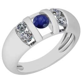 Certified 0.65 Ctw Blue Sapphire And Diamond VS/SI1 18K