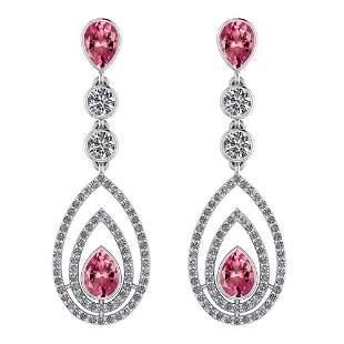 Certified 2.96 Ctw Pink Tourmaline And Diamond VS/SI1 1
