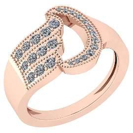 Certified 0.56 Ctw Diamond VS/SI1 14K Rose Gold Ring