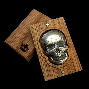 2 oz Silver Human Skull 3D Art Bar with Antique Finish