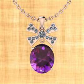 Certified 13.29 Ctw Amethyst And Diamond I2/I3 10K Gold