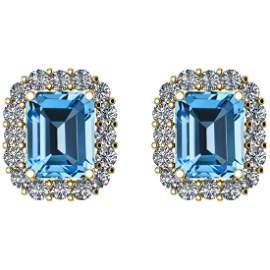 Certified 10.20 Ctw Blue Topaz And Diamond I2/I3 14K Go