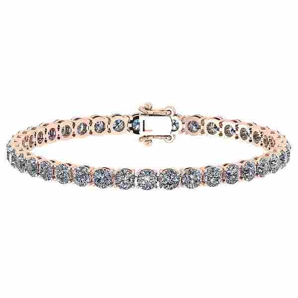 Certified 11.40 Ctw Diamond SI2/I1 14K Rose Gold Bracel