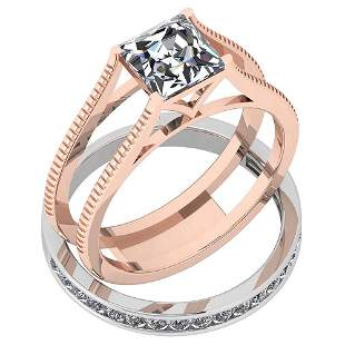 Certified 1.55 Ctw Diamond VS/SI1 2 Pcs 14K Rose And Wh