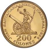 Costa Rica 200 Colones Gold PF 1970 Juan Santamaria